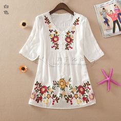 Summer Style 2016 Fashion Women Blouses Embroidery Printing Shirts Short Sleeve V-Neck Women Tops Casual Shirts Blusa Femnina
