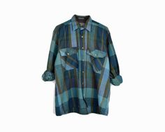 Vintage 80s Blue & Green Plaid Flannel Shirt / by companionvtg