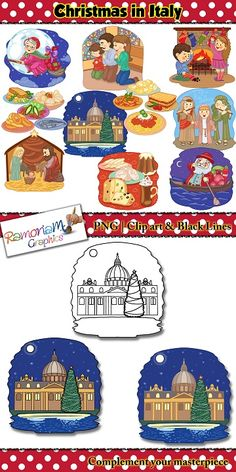 This Christmas Italy Clip art set depicts the way the Italians celebrate! 30 images total - commercial use ok