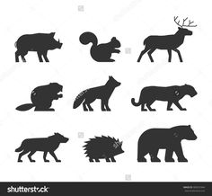 Vector Set Figures Of Wild Animals Isolated On White Background. Black Silhouettes Boar, Squirrels, Deer, Beaver, Fox, Puma, Wolf, Hedgehog And Bear. - 383031844 : Shutterstock