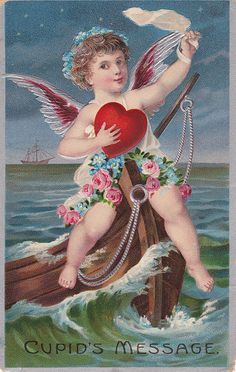 Sailing by to wish you a joyful Valentine's Day. #vintage #card #cupid #postcard #Valentines #Victorian