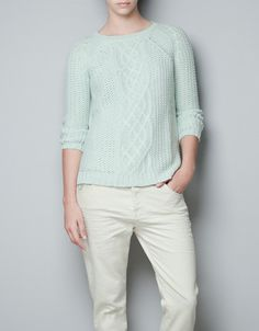 SWEATER WITH CENTRAL CABLE-KNIT DETAIL - Knitwear - TRF - ZARA Italy