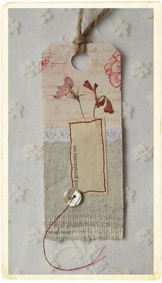 gorgeous paper/fabric stitched tag, red geraniums - by LOVE STITCHING RED