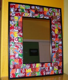 How to Recycle: Creative Reuse and Recycling Ideas for Interior Decorating- soda can mirror frame Coke Can Crafts, Crafts To Make, Fun Crafts, Aluminum Can Crafts, Aluminum Cans, Pop Can Art, Mirror Crafts, Recycle Cans, Upcycle