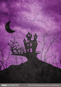 Purple Scary Haunted Mansion Halloween Backdrop