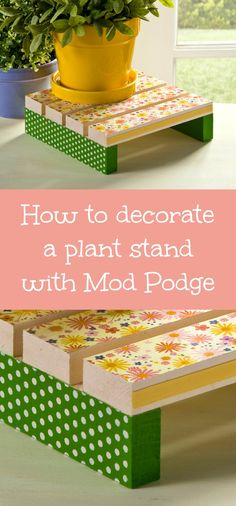 Learn how to decorate a simple wood plant stand from the craft store using paper, decoupage medium, and adhesive stencils - AND it's waterproof!