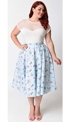 Hell Bunny Plus Size 1950s Baby Blue Cats Amelia High Waist Swing Skirt