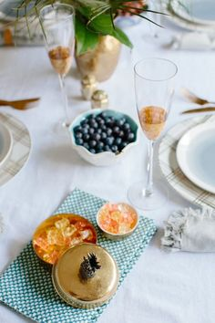 Simple Stylings 2017 Spring Home Tour table - www.simplestylings.com - blue and gold tablescape - spring table - modern and eclectic decor