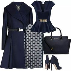 A fashion look from November 2014 featuring Oneness tops, Ted Baker coats and Araks skirts. Browse and shop related looks. Classy Outfits, Chic Outfits, Pretty Outfits, Work Fashion, Fashion Looks, Blue Fashion, Mode Collage, Modelos Fashion, Elegantes Outfit