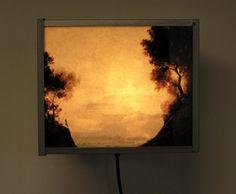 The Flight to Egypt    Lightbox by John Workman for VW    315mm x 265mm x 200mm deep    bitumen paint on glass in a darkroom safelight