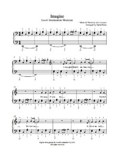 Imagine by John Lennon Piano Sheet Music | Intermediate Level
