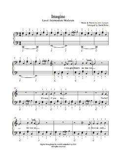 Imagine by John Lennon Piano Sheet Music   Intermediate Level