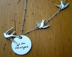 "Divergent Inspired Necklace. Tris quote ""I am divergent"" by WithLoveFromOC, $23.00 & free shipping."