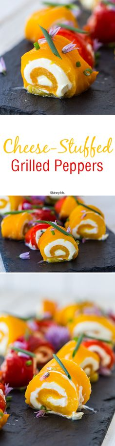 Cheese-Stuffed Grilled Peppers make for an amazing clean eating snack!  #cheesestuffedpeppers #peppers #cleaneatingsnacks