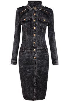 Vestido denim combinado polipiel tachuelas-Negro EUR€29.09