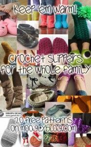 Crochet Slippers for the Whole Family: 20 Free Patterns! Posted on November 13, 2012 by Tamara Kelly A while back I put together a roundup of Booties for Babies, but with the holidays coming, 'tis the season for crochet slippers for all! I've rounded up the cutest, coziest, and warmest slippers for men, women, teens and kids – and each and every one of these twenty crochet patterns is free!