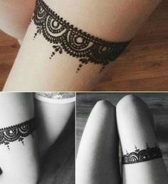 Lace Henna Design on Thigh #heena #mehendi #womentriangle #heenatattoo