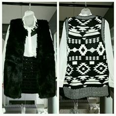 """LAST DAY Fabulous vest knitted back LAST chance, last xlarge,Item will be removed.  Brand new with tags Fabulous black open front faux fur vest! The backside has an amazing black and white knitted print which makes this vest stand out from the rest! This vest will surely be one of your favorite piece to grab and go. So versitile! Can we worn over a dress or paired with jeans and a white shirt. Sweater/knit/faux fur 100% acrylic  Length approx27"""" Side Pockets Sweaters"""