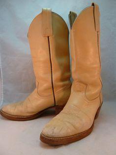 Vintage Frye Boots Cowboy Western Beige Leather Men's Size 10 D USA 1970s #Frye #CowboyWestern