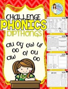 Phonics DIPTHONGS End of the Year REVIEW ~ CHALLENGE ~ Vocabulary Enriched and Multi-syllable words!