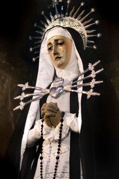 María Santísima de los Siete Dolores The statue of Our Lady of Seven Dolours in the church of Santa Cruz in Madrid, Spain.