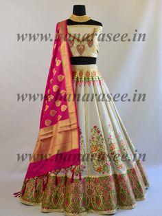 Banarasee Handwoven Art Silk Unstitched Lehenga & Blouse Fabric With Meena Work-Off White Lehenga Designs Simple, Simple Lehenga, Half Saree Designs, Choli Designs, Blouse Designs, Designer Lehnga Choli, Designer Bridal Lehenga, Indian Bridal Lehenga, Lehnga Dress