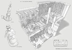 Feng Zhu Design: Adventure Game Room Designs, FZD Term 2