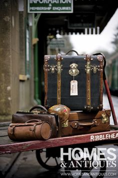 Vintage luggage is available in a huge range of shapes and sizes Vintage Suitcases, Vintage Luggage, Vintage Travel, Old Trunks, Vintage Trunks, Antique Trunks, Suitcase Bag, Steamer Trunk, Hat Boxes