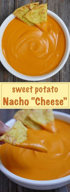 "Sweet Potato Nacho ""Cheese"" is dairy-free paleo vegan and allergy-friendly. Recipe bySweet Potato Nacho ""Cheese"" is dairy-free paleo vegan and allergy-friendly. Dairy Free Recipes, Paleo Recipes, Real Food Recipes, Cooking Recipes, Gluten Free, Dairy Free Nachos Recipe, Dip Recipes, Lactose Free Nachos, Paleo Nachos"
