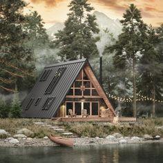 6 Cool A-Frame Cabin Kits & Prefab House Designs A Frame House Kits, A Frame House Plans, Wood Frame House, Prefab Cabins, Prefab Homes, Prefab Cabin Kits, Cabin Kit Homes, Cabin Design, House Design