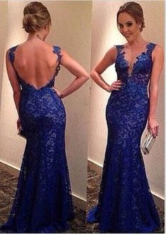 dark blue evening dress,open back  prom dress, backless cocktail dress lace party dress http://www.diyouth.com/cheap-long-prom-dresses.html