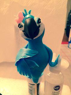 "Fondant bird ""jewel"" Rio cake topper"