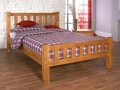 Sturdy and stylish wooden bed frame. Features a high slatted headboard and foot end. Available in a quality honey finish. Sizes: Small Double x Double x King Size x Manufactured by Limelight. Similar to Austin bed frame. Furniture, Cheap Bedding, Single Bed Mattress, Benson For Beds, Single Wooden Beds, Bed, Bed Frame, Furniture Choice, Pine Single Bed