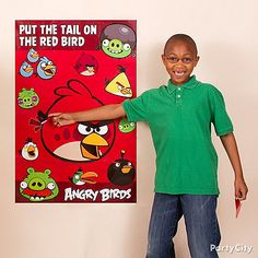 "This spin on the classic party game ""Pin The Tail"" lets guests take turns trying to stick Red Bird's tail in place. Click the image for more Angry Birds party ideas!"