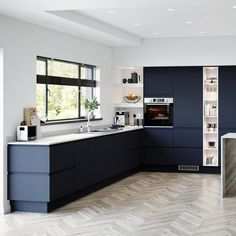 These cabinet doors have a luxurious super-matt finish to create a kitchen inspired by sophisticated design. Introduce an on-trend, linear look with two-drawer packs, which create horizontal lines that draw the eye and make small spaces look larger. Kitchen Cabinet Colors, Kitchen Units, Open Plan Kitchen, Kitchen Cupboards, Kitchen Colors, New Kitchen, Natural Kitchen, Blue Kitchen Designs, Free Kitchen Design