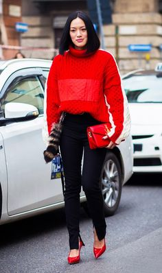Parisienne: Red : The Color That's All Over the Street Style Scene