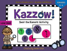 "Many sellers have variations on the same game, calling it ""Swat"" or ""Slap"" or ""Fly Swatting"". This is the same classroom activity with a new name - ""Kazzow!"" Swat-type games are fun activities that engage learners with a wall or tabletop activity. It's a great Hebrew school and Sunday school game, because of the challenges of teaching with little time (sometimes one day per week) and the need to make Hebrew school fun, as well as motivates students to come back to Hebrew school for more fun."