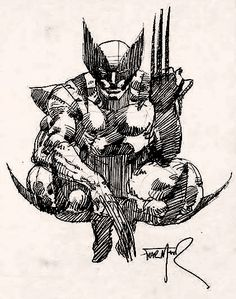 Wolverine sketch by Frank Miller. Remember when he could really draw? Comic Book Artists, Comic Book Characters, Comic Artist, Comic Character, Comic Books Art, Marvel Art, Marvel Comics, Frank Miller Art, Wolverine Art