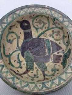 Big Islamic Persian Ceramic Earthenware Bowl Khorasan Nishapur Seljuq Kufic Bird