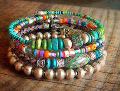 Jasper, Turquoise, African Beads and Bolo Leather Charm Bangle Set via Etsy