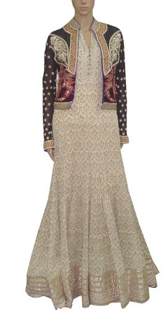 KRISHNA MEHTA Ecru anarkali with raw silk jacket