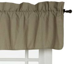 Logan Gingham Check Print 34-Inch by 13-Inch Lined Filler Valance Curtain, Green by Ellis Curtain. $20.66. 100% Cotton. Measurements 34-inch overall width; 13-inch overall length. Popular gingham check print fabric creates an updated and stylish look to any room. 100-Percent cotton duck fabric for smoother draping effect. Made in the USA; Dry clean recommended. Constructed with a 3-inch rod pocket and decorative 3-feet header. Logan Gingham Check Filler Valance - ...