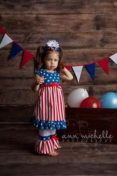 Little Girls 4th of July Patriotic Red, White and Blue Stars and Stripes Boutique Set Baby Girl Clothes Toddler Boutique 4th of July Babies by BabyGirlTutus on Etsy
