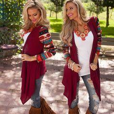 726595ac16bd Aliexpress.com  Comprar 2016 Nueva Azteca Mujeres Asimétrica de Punto  Suéter de Manga Larga Mujer Cardigan Chaquetas Casual Suéteres Camisas de  Aire ...