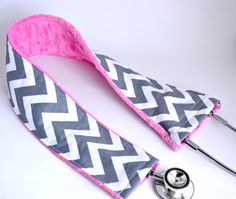 "Use Coupon Code ""PinnedIt"" for free shipping! Stethoscope Cover - Grey Chevron & Pink- Nurse, Doctor, Med Student, Medical Assistant $15.00"