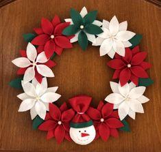 Christmas Poinsettia, Christmas Star, Handmade Christmas, Xmas, Christmas Ornaments, Paper Christmas Decorations, Snowman Decorations, Christmas Tree Themes, Holiday Wreaths