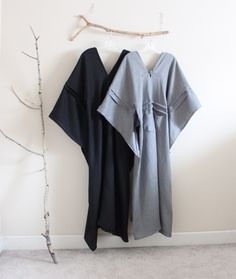 gray and black linen swallow dresses by anny schoo