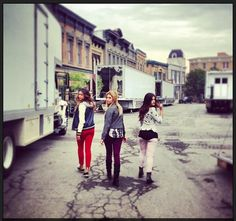 Ashley Benson, Lucy Hale and Shay Mitchell on the set of Pretty Little Liars. #PLL