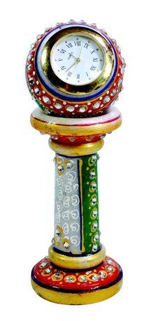 Handmade Indian Kundan Painted USA Marble Clock Showpiece Artefacts #krishnakraftindia #Traditional
