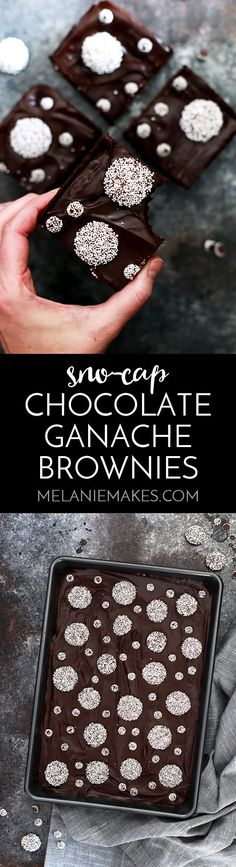 The fudgy brownie base studded with Sno-Cap candies and before being flooded with a thick layer of chocolate ganache, this is one of the finest chocolate brownie recipes!